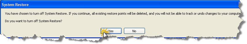 ยืนยัน ปิด/disable system restore ใน windows xp